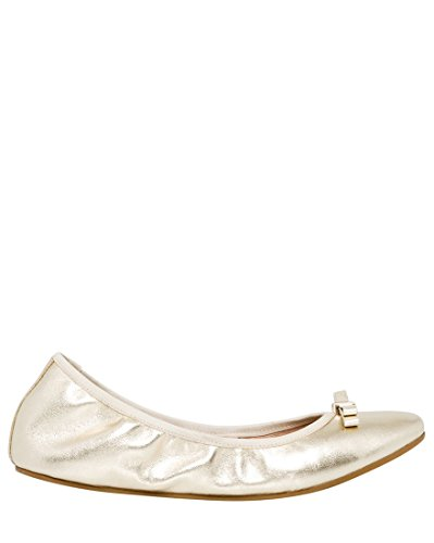 Platino Leather Footwear - LE CHÂTEAU Women's Leather Ballerina Flat with Bow Detail,7,Platino