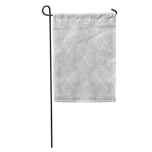 Semtomn Garden Flag Endless Pattern Damask in White and Silver Grey Colors Victorian Home Yard Decor Barnner Outdoor Stand 12x18 Inches Flag