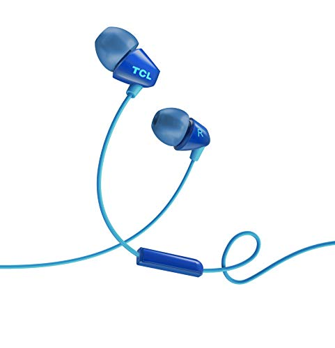 (TCL SOCL100 in-Ear Earbuds Wired Headphones with Built-in Mic - Ocean Blue SOCL100BL)