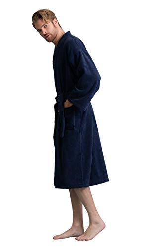 Men's Robe, Turkish Cotton Terry Kimono Spa Bathrobe (Navy, Large)