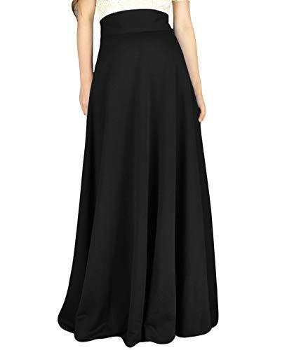 (YSJERA Women's High Waist A-Line Pleated Solid Vintage Swing Maxi Skirts Midi Skirt Party (US 18/14 Plus, Black LEN 43.3