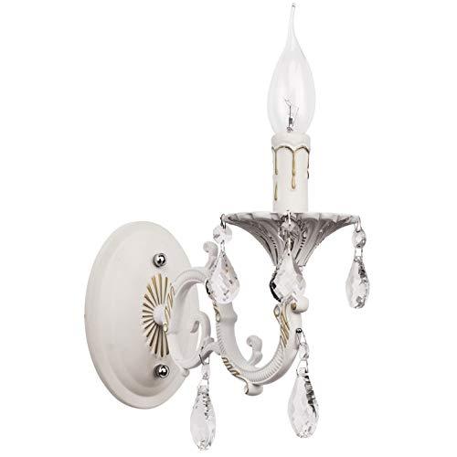 Lámpara de pared Shabby Chic Metal Color blanco Gotas Cristales transparentes Estilo clásico Vela Forma 1 * 60W E14 - excl [Clase de eficiencia energética A] MW-Light