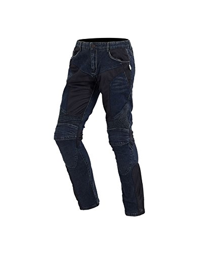 Ocamo Comfortable Trendy Motorcycle Jeans with Protector Racing Car Trousers Shinguard Blue XS