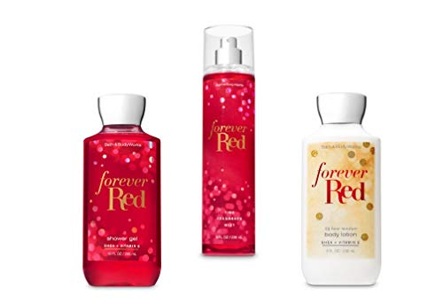 Bath and Body Works Forever Red Shower Gel, Body Lotion, Fine Fragrance Mist Daily Trio Gift Set - Lotion Body Forever