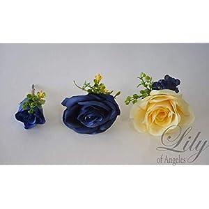 Wedding Bouquet, Bridal Bouquet, Bridesmaid Bouquet, Silk Flower Bouquet, Wedding Flower, Yellow, Sunflower, mini Sunflower, navy blue, blue, dark blue, navy, burlap, rustic, greenery, Lily of Angeles 17