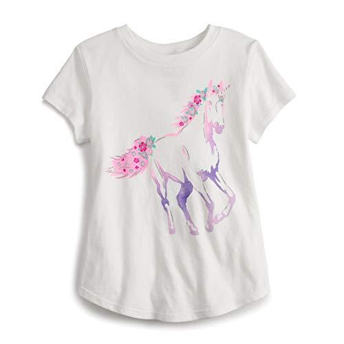 Jumping Beans Little Girls' 4-12 Pretty Unicorn Tee 7 White