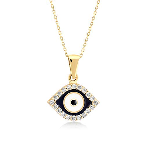 Gelin 14k Yellow Gold Navy Blue Evil Eye Protection Charm Pendant Necklace for Women, 18