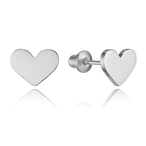 Heart Baby Post Earrings (Sterling Silver Rhodium Plated Plain Heart Screwback Girls)