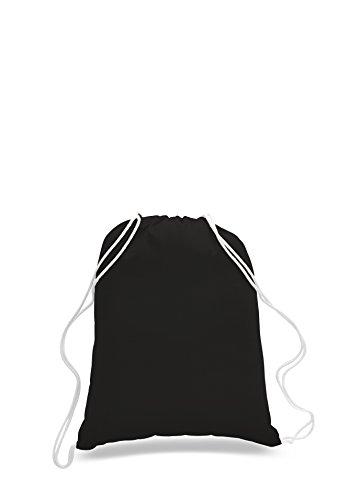 Pack of 2 - Eco-Friendly Reusable Drawstring Bag Economical 6 oz. Cotton Canvas Drawstring Bag Cinch bags size 14'W x 18'H In Black - CarryGreen Bag