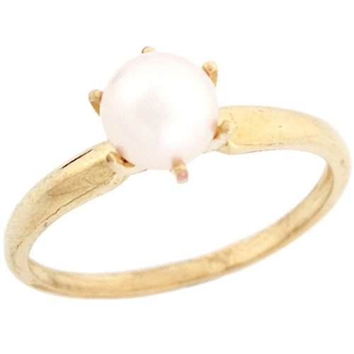 10k Solid Yellow Gold Freshwater Cultured Pearl Solitaire Promise Ring Jewelry