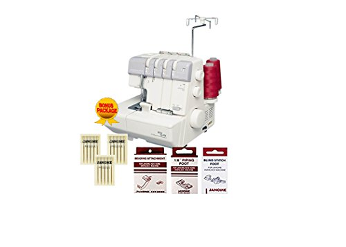 Janome MyLock 634D Overlock Serger, with Self Threading Lower Looper, Differential Feed, 2 needle, 2/3/4 Thread Overlock Stitching with FREE BONUS - Thread Serger 5