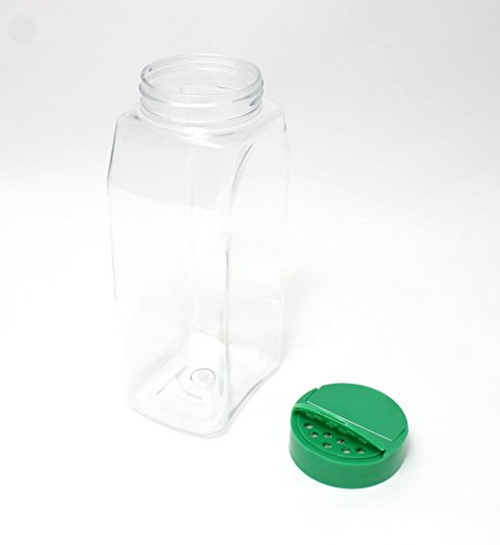 52440532542e SalusWare Clear PET 32 Oz Spice Jars with Lined Green Caps (6 ...