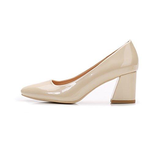 Mujer Alto Negra Zapatos Tacón del Alto Singles 5 Puso Profesional Cm GAOLIM De Luz 8 Pie De Talón Zapatos Femeninos Alto Zapatos Cuadrado Tacón Beige Un De WwBfPWnq7