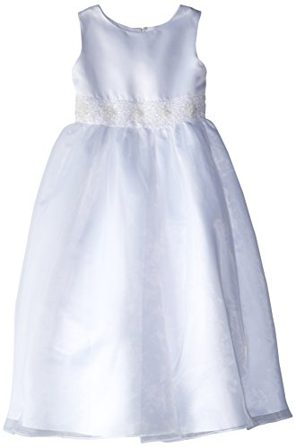 Us Angels Big Girls' Dress With Handbeaded Cummerbund, White, 7 by US Angels