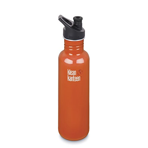 Klean Kanteen Classic Stainless Steel Bottle with Sport Cap, Flame Orange, 18-Ounce
