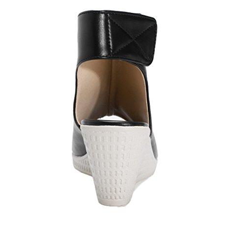 Correct Cuir Femme PU à AalarDom Petite Sandales Velcro Ouverture Talon Noir dXx4wd5q