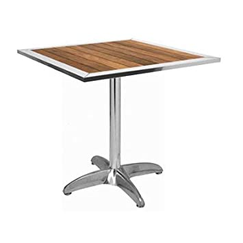 ILINEO - Table Carrée Extérieur Terrasse Jardin en Aluminium et Bois ...