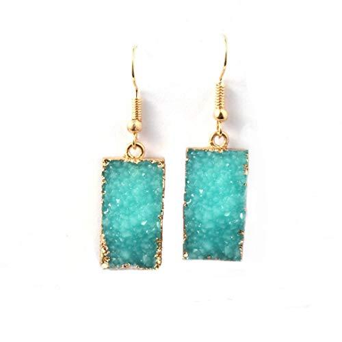 Desert Citizen Druzy Quartz Rectangle Dangle Earrings for Women in Gold (Teal)