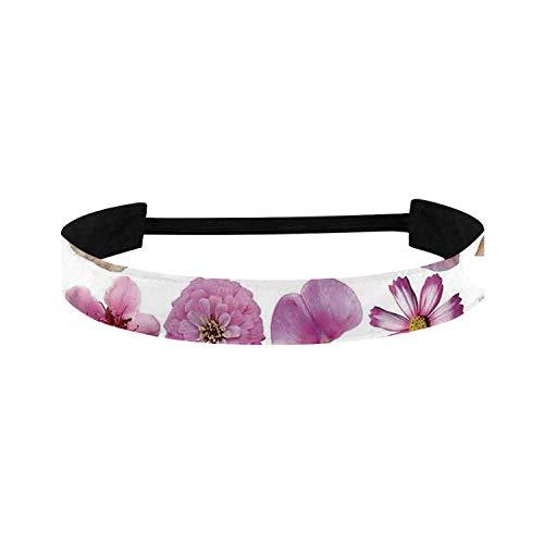 C COABALLA Floral Simple Sports Headband,Pattern of Vase Flowers Petunia Botanic Wild Orchid Floral Nature Art Decor for Sports,15