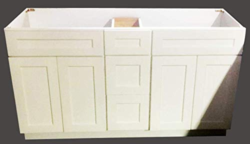 New White Shaker Double Sink Bathroom Vanity Base Cabinet 60
