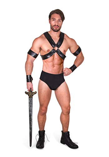 Sexy Gladiator Costume - Halloween Mens Spartan Warrior, Black, Large
