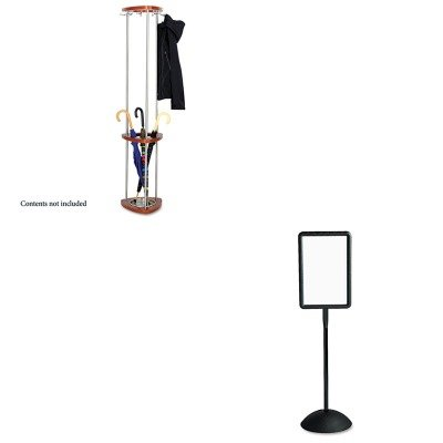 Y - Value Kit - Safco Mode Wood Costumer with Umbrella Stand (SAF4214CY) and Safco Double Sided Sign (SAF4117BL) (Safco Mode Costumer)