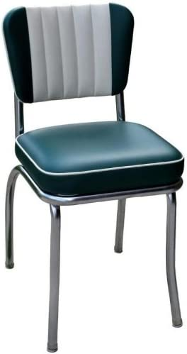 Richardson Seating Retro 1950s Diner Chair in Green and White with 2 Box Seat