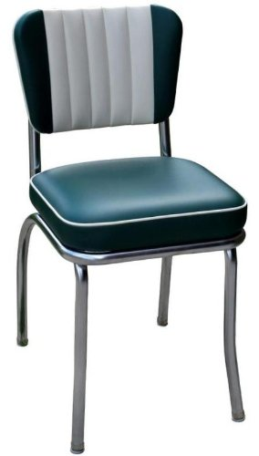 (Richardson Seating Retro 1950s Diner Chair in Green and White with 2