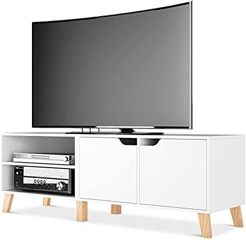Homfa Mueble TV Salon Mesa para TV con 2 Puertas 2 Compartimientos Blanco 140x40x48cm