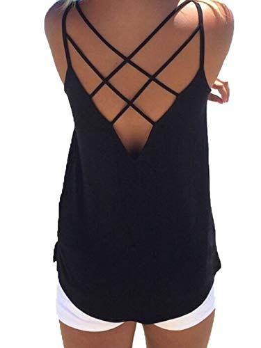 (Women's Cute Criss Cross Back Tank Tops Loose Hollow Out Camisole Shirt (Small,)
