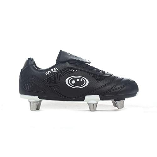 Optimum Razor Lace Up Soft Ground Kids Rugby Boot Black/Silver - UK 5