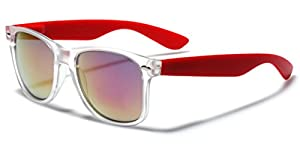 Colorful Retro Fashion Sunglasses Translucent Clear Matte Frame - Color Mirrored Lenses