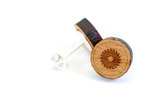 Spinning Jewelry Studs (WOODEN ACCESSORIES COMPANY Wooden Stud Earrings With Spinning Saw Laser Engraved Design - Premium American Cherry Wood Hiker Earrings - 1 cm Diameter)