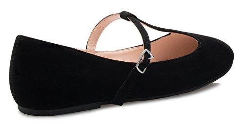 Olivia K Donne Mary Jane Danza Piatto - Pattino Casuale Comodità Trapuntato - Facile Velcro Slittamento Nubuck Nero T-strap