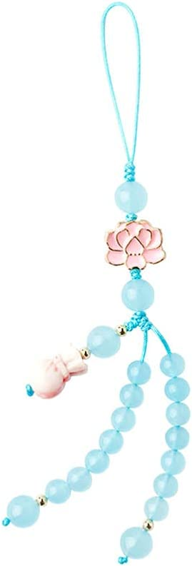 Hemobllo Cell Phone Strap Anti- Lost Phone Lanyard Crystal Chinese Style Phone Charm Key Chain Car Key Hanging Pendants Decor for Car Phone Fan Clothing Decor Blue