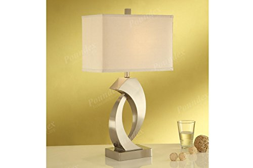 Set of Two Table Lamp with an Abstract Sculpture Base and a Wide Rectangular Shaped Lamp Shade (Leather Rectangular Lamp Table)