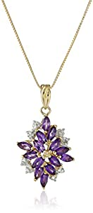 18k Yellow Gold-Plated Sterling Silver Genuine African Amethyst Drop Pendant Necklace, 18