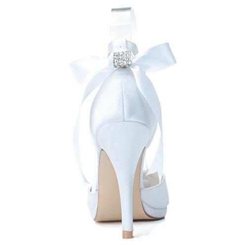 Scarpe da Elobaby 28 Damigella Fiocco Ivory Donna 0255 con Punta Sposa Donna Chiusa Festa da di da Scarpe da a D'Onore dqASrAf