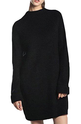 Jsyau Robe Couleur Pure Des Femmes Occasionnels Tricot Col Rond Manches Longues Mi-longues Chandails Classiques Noir