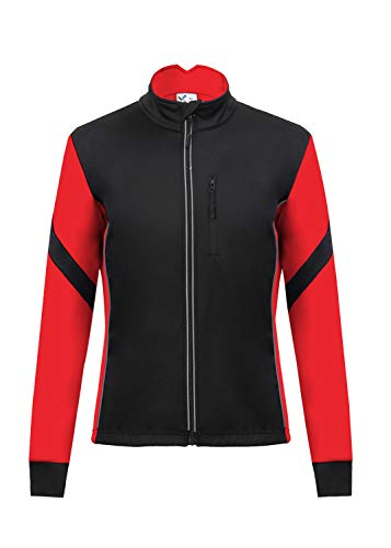 Men's Thermal Cycling Jersey Long Sleeve Snow Water Reflective Windproof Firewall Winter Biking Jacket (Large, Red) ()