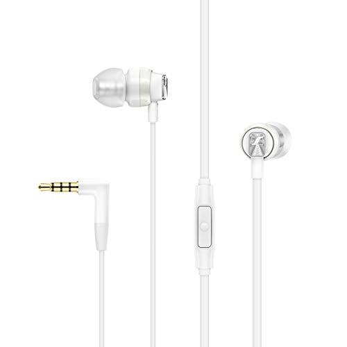 هدفون Sennheiser CX 300S در هدفون گوش از راه دور با یک دکمه هوشمند - سفید