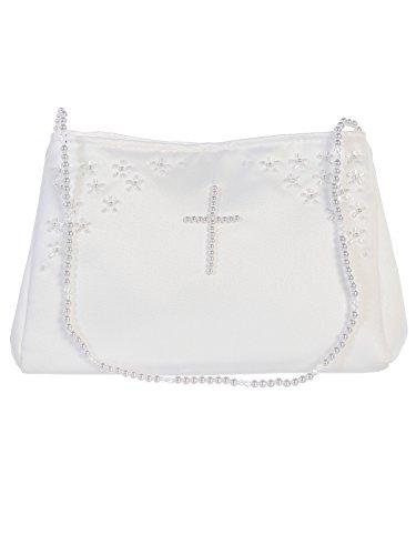 DaisyandLeo Girls White Pearl Cross Handbag (White) White Pearl Cross