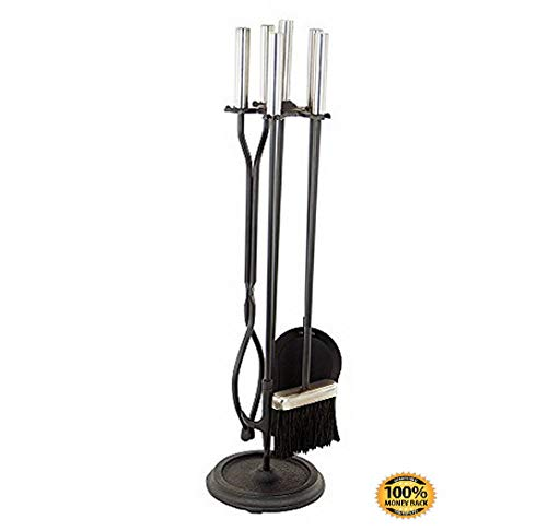 ArtMuseKit Neoclassic 5-Piece Fireplace Tool Set, Polished Chrome and Black -