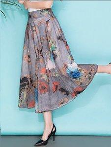 Las mujeres imprimieron los pantalones anchos de la pierna los pantalones flojos de la falda de la sección delgada de la sección del verano pantalones flojos de la marea C