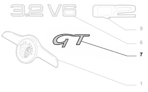 /60690947 v/éritable Alfa Romeo GT Chrom/é Corps style Badge/