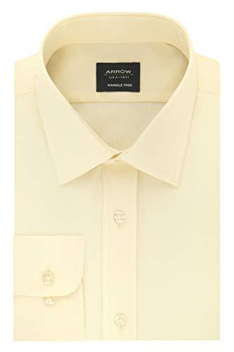 Arrow 1851 Men's Fitted Dress Shirt Poplin, Light Maize, 17-17.5 Neck 32-33 Sleeve (X-Large)