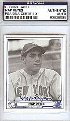 Nap Reyes Signed 1945 Play Ball Reprint Trading Card #35 New York Giants - PSA/DNA Authentication - Autographed MLB Baseball Cards from Sports Collectibles Online