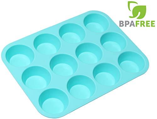 RagaMuffins Premium Silicone Cupcake Baking Pan | Mold | Muffins |12 Cup | 100% Non-Stick | FDA Approved Food Grade Silicone in Aqua