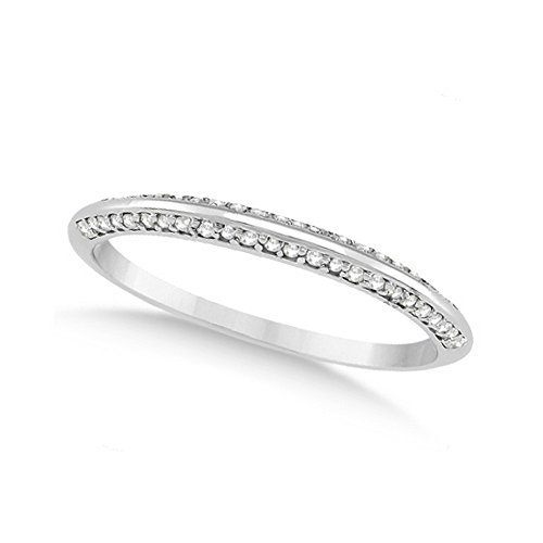 Knife Edged Micro Pave Diamond Wedding Band Platinum