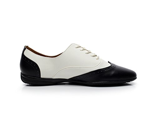 Minishion Qj9015 Heren Lace-up Lederen Ballroom Latin Tango Salsa Dansschoenen Zwart / Wit